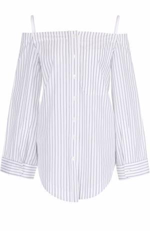 Хлопковая блуза в полоску с открытыми плечами Aquilano Rimondi. Цвет: белый