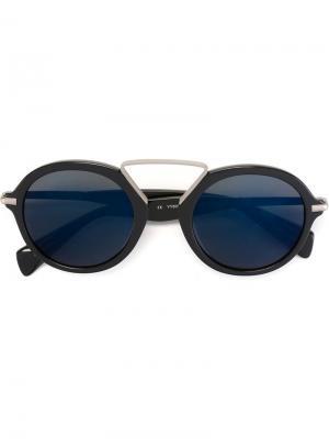 Солнцезащитные очки с круглой оправой Yohji Yamamoto. Цвет: синий