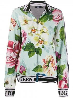 Бомбер с цветочным принтом Dolce & Gabbana. Цвет: синий