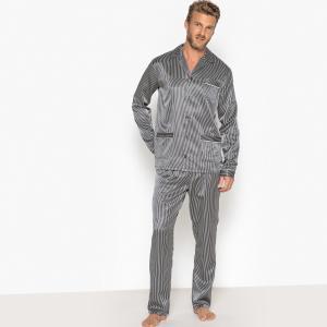 Пижама-жакет из атласа в полоску, пиджачный воротник LA REDOUTE COLLECTIONS. Цвет: черный/ белый
