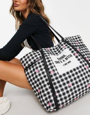 Большая сумка-тоут в клетку с мелким цветочным принтом Skinny Dip Karma-Черный цвет Skinnydip