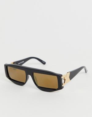 Квадратные солнцезащитные очки в черной оправе с золотистыми стеклами Venus Spitfire. Цвет: черный