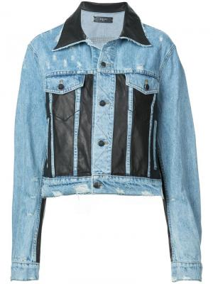 Джинсовая куртка со вставками из искусственной кожи Amiri
