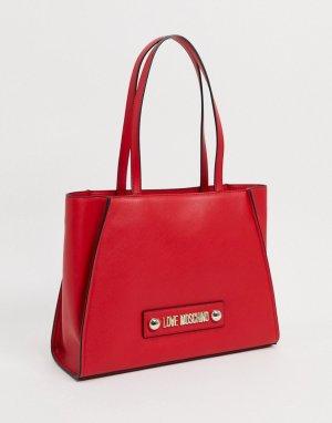 Красная большая сумка-тоут -Красный Love Moschino
