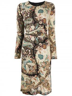 Платье с принтом пейсли и длинными рукавами Etro. Цвет: коричневый