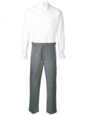 Классические брюки с пуговичной отделкой Thom Browne. Цвет: серый
