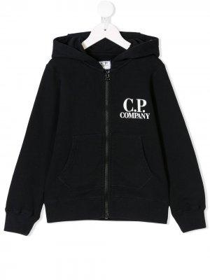 Толстовка с капюшоном и логотипом C.P. Company Kids. Цвет: синий
