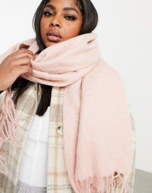 Ультрамягкий длинный шарф с кисточками пыльно-розового цвета -Розовый ASOS DESIGN
