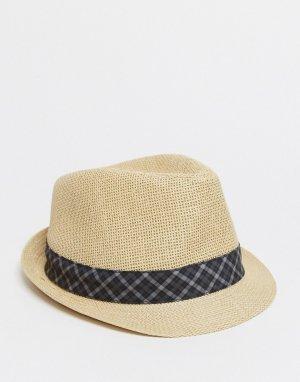 Шляпа с отделкой лентой в клетку -Кремовый Ben Sherman
