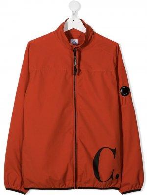 Легкая куртка с логотипом C.P. Company Kids. Цвет: оранжевый