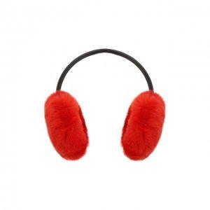 Наушники из меха кролика Yves Salomon. Цвет: красный