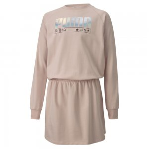 Детское платье Alpha Dress PUMA. Цвет: розовый