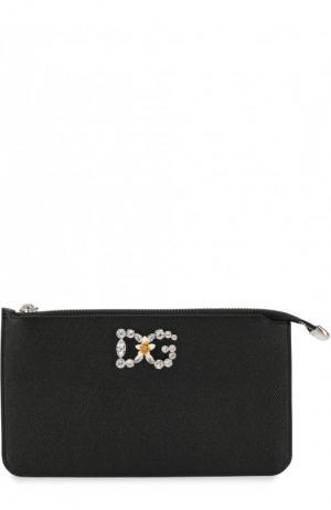 Кожаный кошелек на молнии с декором Dolce & Gabbana. Цвет: черный