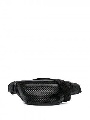 Плетеная поясная сумка Ermenegildo Zegna. Цвет: черный