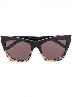 Массивные солнцезащитные очки SL214 New Wave Kate Saint Laurent Eyewear. Цвет: черный