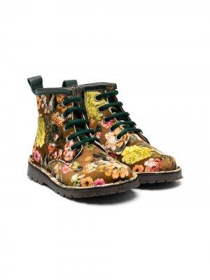 Бархатные ботинки с цветочным принтом Pèpè. Цвет: желтый