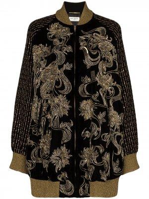 Декорированная куртка-бомбер Saint Laurent. Цвет: черный