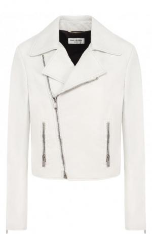 Однотонная кожаная куртка с косой молнией Saint Laurent. Цвет: белый