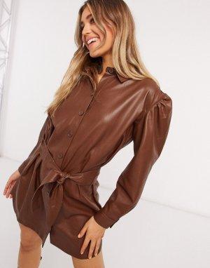 Коричневое платье из искусственной экокожи с поясом -Коричневый BB Dakota
