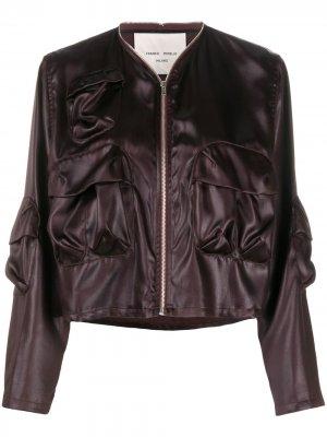 Куртка-бомбер с эффектом мокрой ткани Frankie Morello. Цвет: коричневый