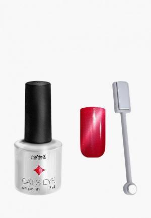 Набор для ухода за ногтями Runail Professional магнит и Гель-лак Cat's eye серебристый блик, цвет: Гламурная кошка. Цвет: красный