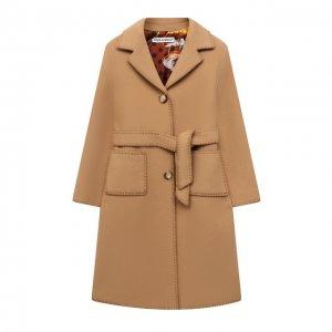 Шерстяное пальто Dolce & Gabbana. Цвет: бежевый
