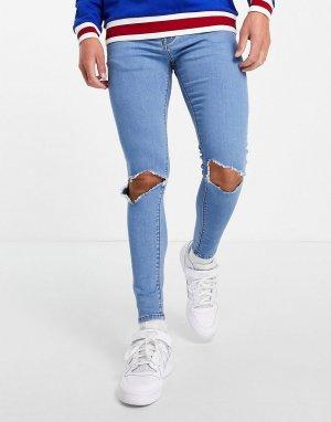 Голубые супероблегающие эластичные джинсы со рваной отделкой на коленях -Голубой ASOS DESIGN