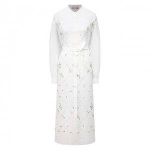 Платье из вискозы Ermanno Firenze. Цвет: белый
