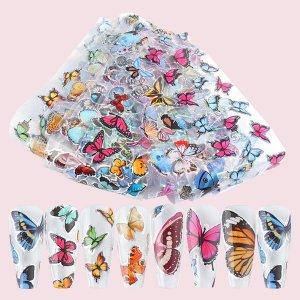 10шт Наклейка для ногтей с узором бабочки SHEIN. Цвет: многоцветный