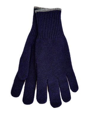 Синие перчатки из кашемира с контрастной окантовкой BRUNELLO CUCINELLI. Цвет: синий