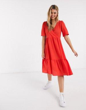 Красное платье миди с рукавами клеш -Красный Monki