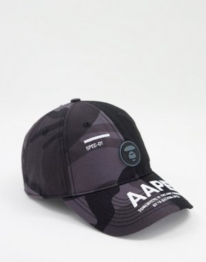 Черная бейсболка с камуфляжным принтом AAPE By A Bathing Ape-Черный цвет APE®