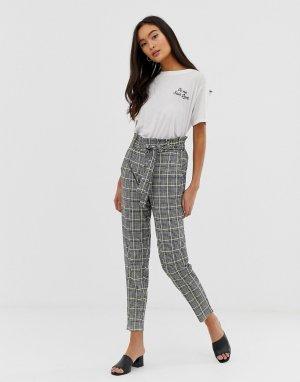 Клетчатые брюки галифе с присборенной талией -Мульти QED London