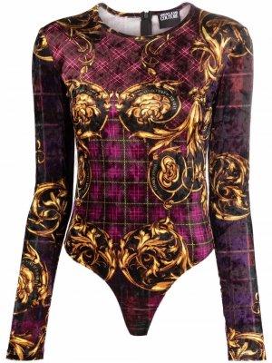 Боди с длинными рукавами и принтом Baroque Versace Jeans Couture. Цвет: фиолетовый