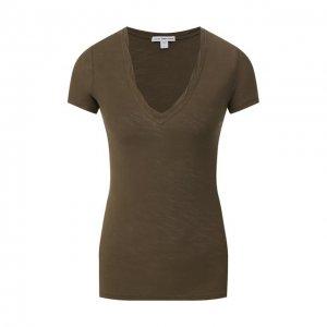 Хлопковая футболка James Perse. Цвет: хаки