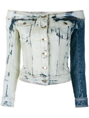 Джинсовая куртка с открытыми плечами Faith Connexion. Цвет: синий