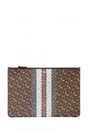 Коричневый клатч из экологичной ткани с монограммами Burberry. Цвет: коричневый