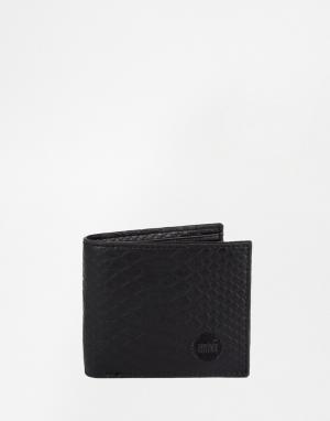 Классический бумажник с отделкой под кожу змеи Mi-Pac. Цвет: черный