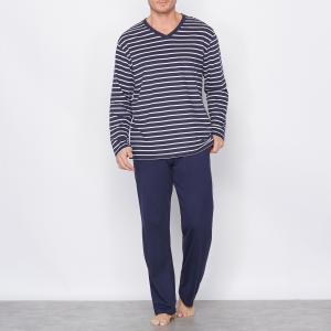 Пижама из джерси, 100% хлопка CASTALUNA FOR MEN. Цвет: темно-синий в полоску