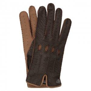 Кожаные перчатки Giorgio Armani. Цвет: коричневый