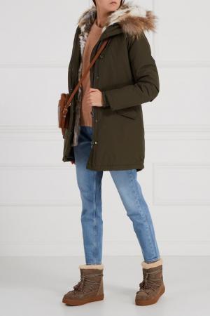 Кожаные ботинки-луноходы цвета хаки Colors Of California. Цвет: коричневый