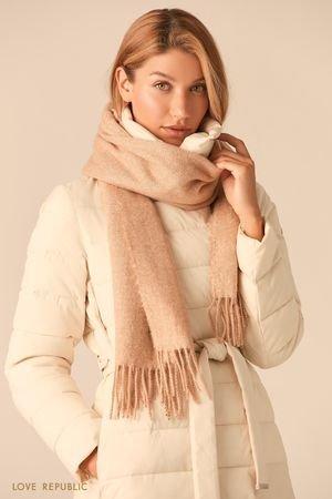 Широкий молочный шарф с плетеной бахромой LOVE REPUBLIC
