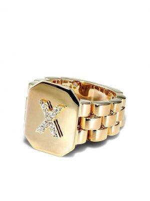 Перстень из желтого золота с бриллиантом SHAY. Цвет: золотистый