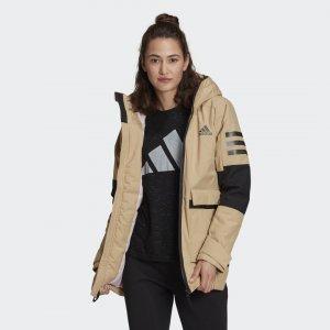 Утепленная куртка Utilitas Performance adidas. Цвет: бежевый