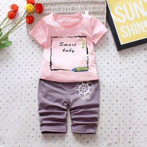 Блузка с рисунками буквы и пенала шорты для мальчика SHEIN. Цвет: многоцветный