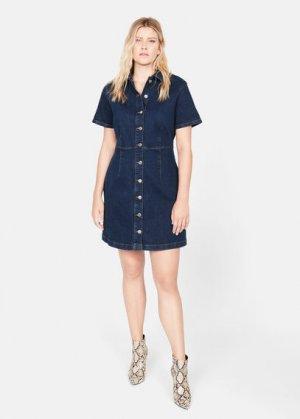 Джинсовое платье с пуговицами - Lince Mango. Цвет: темно-синий