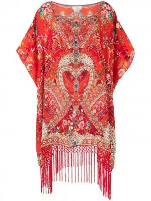 Платье-кафтан с цветочным принтом Camilla. Цвет: красный
