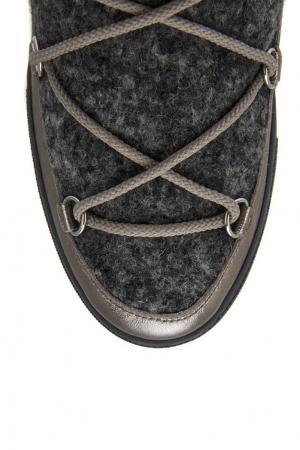 Ботинки-луноходы из шерсти и кожи Ynaff Moncler. Цвет: серый