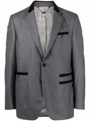 Шерстяной пиджак строгого кроя Billionaire. Цвет: серый