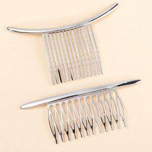2шт Заколка для волос минималистичный SHEIN. Цвет: серебряные